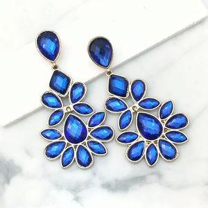 Fabulous Blue Crystal Chandelier Event Earrings